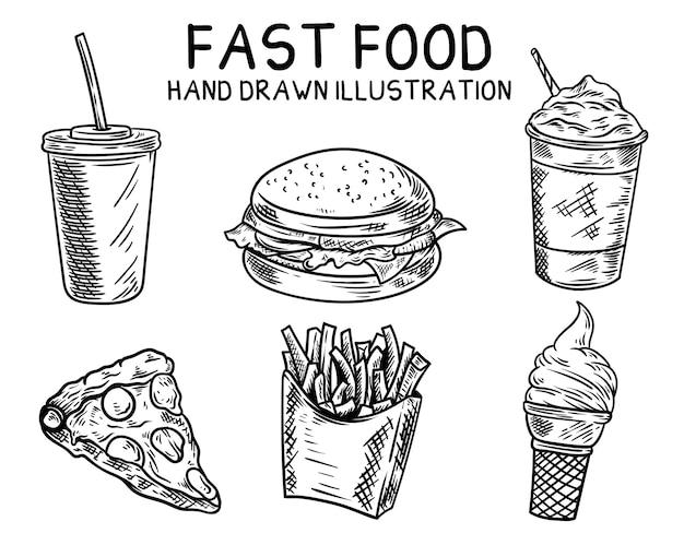Fast food hand gezeichnete illustration