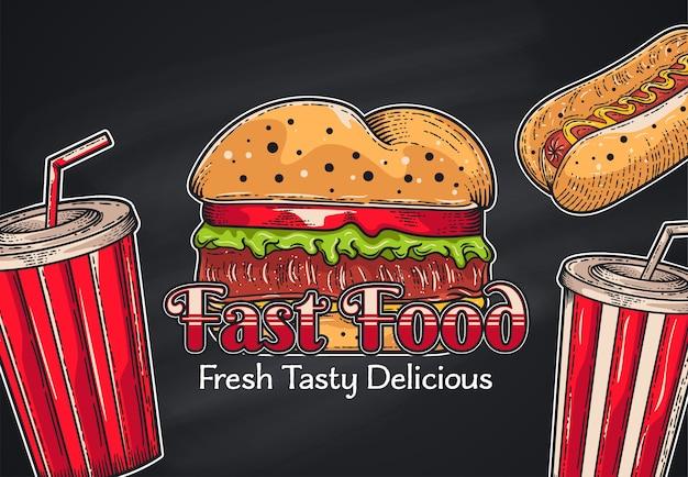 Fast-food-hintergrund der weinlese. hand gezeichnete illustration