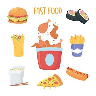 Fast food, huhn in box, sushi burrito pommes frites burger soda hot dog