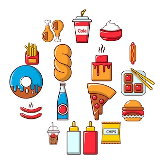 Fast-food-icon-set, cartoon-stil