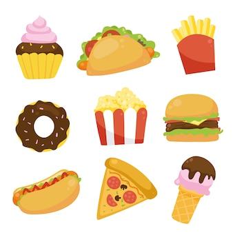 Fast food icons sammlung