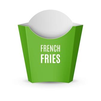 Fast-food-ikone. leere grüne verpackung für pommes frites