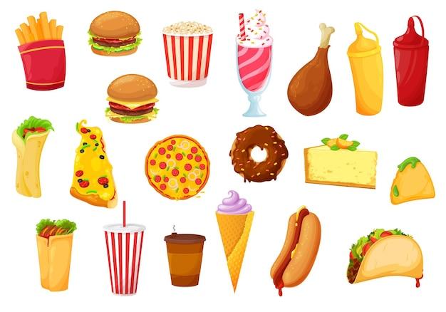 Fast-food-ikonen von burger, pizza, mahlzeiten, getränken und snacks. flache ikonen des fast-food-cafés von kartoffel-pommes, soda und süßigkeiten, hühnergrill und hamburger