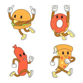 Fast-food-illustration im cartoon-stil