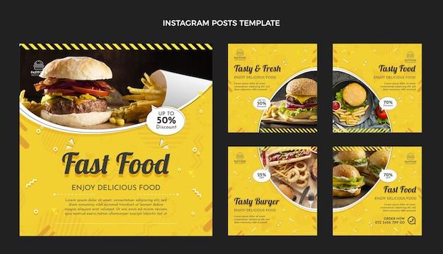 Fast-food-instagram-beiträge im flachen design