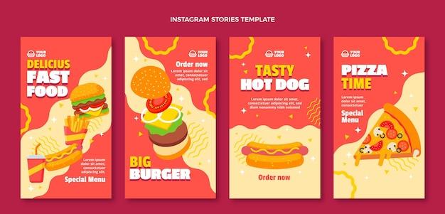 Fast-food-instagram-geschichten im flachen design