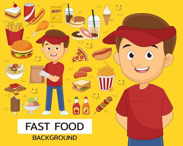 Fast-food-konzept hintergrund. flache symbole.