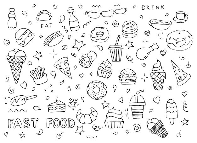 Fast-food-kritzeleien handgezeichnetes muster