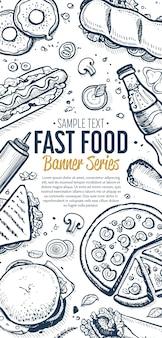 Fast-food-kritzeleien vertikale banner-menü
