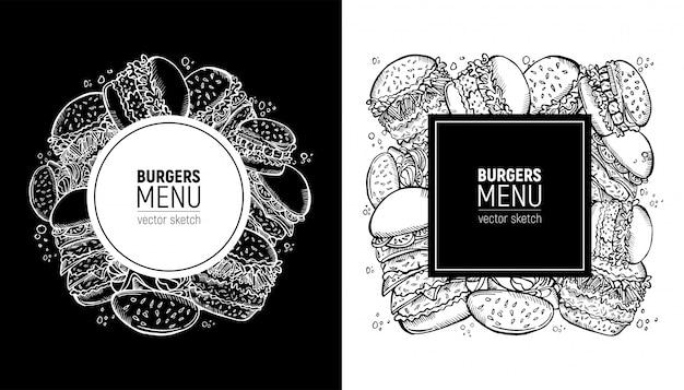 Fast-food-label. burger-menü oder menü der snackbar