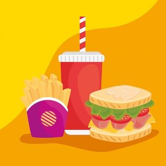 Fast food, leckeres sandwich mit pommes frites und flaschengetränk