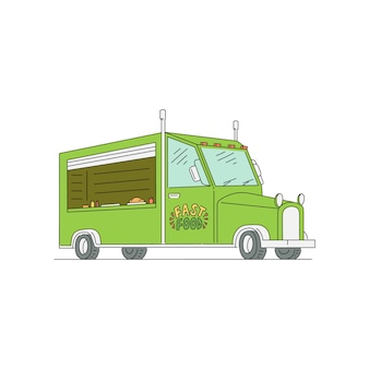 Fast-food-lkw auf weißem hintergrund - zeichnung des lieferwagens des grünen straßenhändlers mit offenem fenster mit niemandem drinnen. illustration.