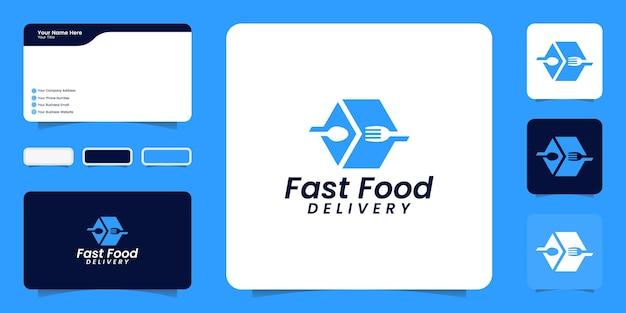 Fast-food-logo und inspiration für visitenkarten