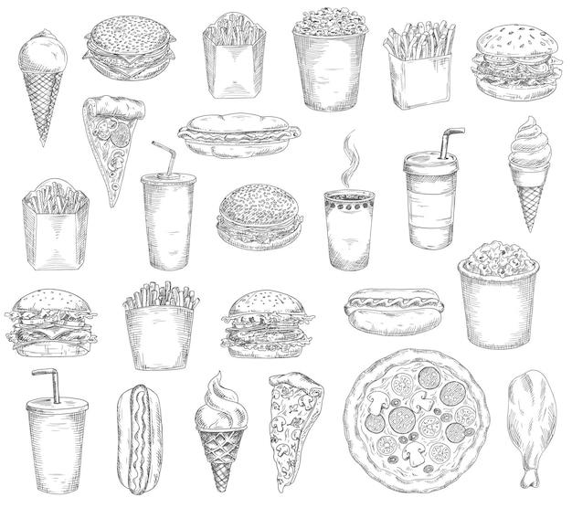 Fast-food-mahlzeiten, getränke und snacks skizzen