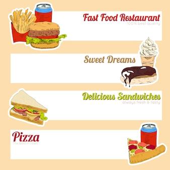Fast-food-menü banner für restaurant