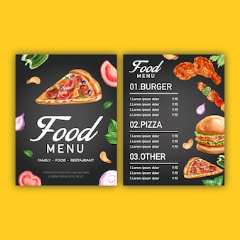Fast-food-menü. feldrandmenü-listenaperitiflebensmittel