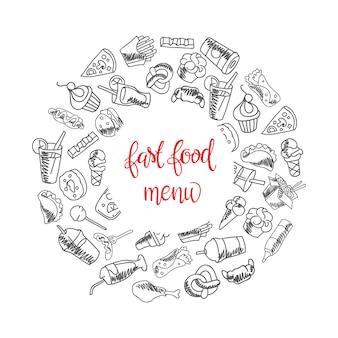 Fast-food-menü. set von icons auf dem hintergrund. pommes frites, hamburger, süßkartoffel pommes