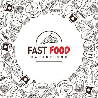Fast-food-menü-set von icons auf dem hintergrund vector