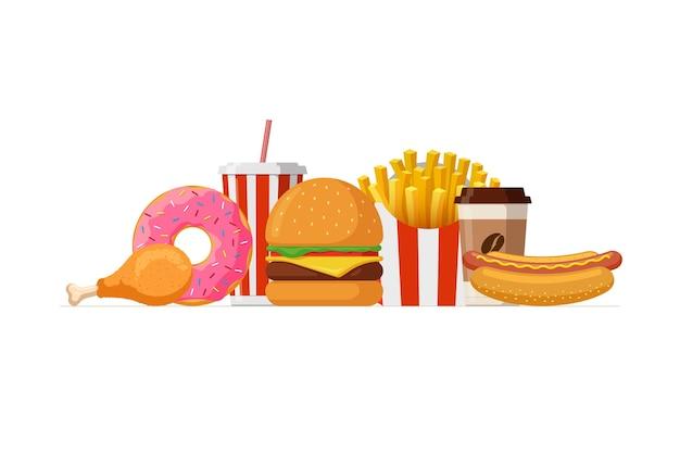 Fast-food-mittagessen-set klassischer käseburger pommes frites packung gebratene knusprige hähnchenschenkel glasiert