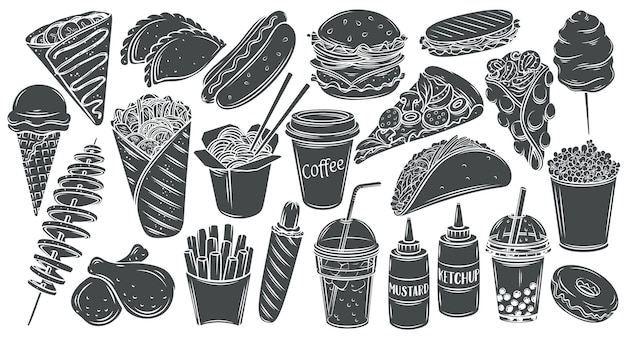 Fast-food-monochrom-glyphe isoliert satz. hamburger, hot dog, döner, wok-nudeln, pizza und andere