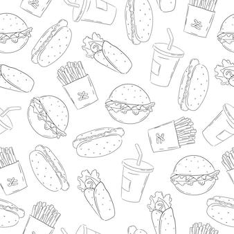 Fast-food-muster im doodle-handgezeichneten stil auf weißem hintergrund white