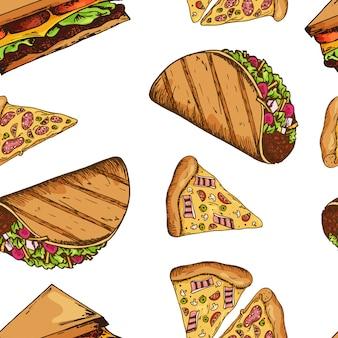 Fast-food-muster mit taco und pizza. hand zeichnen retro-illustration. vintage design.