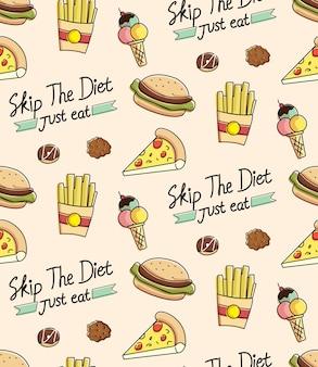 Fast-food-nahtlose hintergrund in doodle-stil