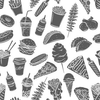 Fast-food-nahtloses muster monochrome glyphe isoliert im gravierten stil