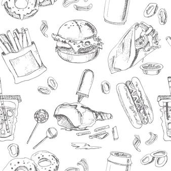 Fast food nahtloses muster. skizzen. vintage illustration für identität, design, dekoration, verpackungsprodukt und innendekoration