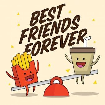 Fast-food-nette beste freunde zeichen