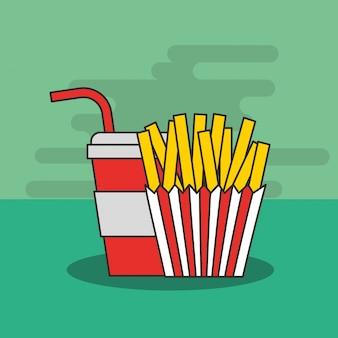 Fast food pommes frites und soda im becherstroh