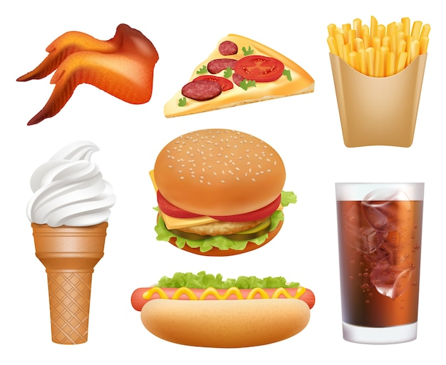 Fast food realistisch. mittagessen pizza huhn hamburger hot dog getränke pommes frites vektor junk müll essen bilder. hamburger und fast-food-mittagessen, mahlzeit pizza illustration