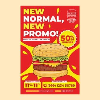 Fast-food-restaurant-poster-werbung im flachen design-stil