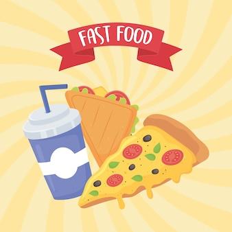 Fast food, sandwich pizza und soda mit strohplakat