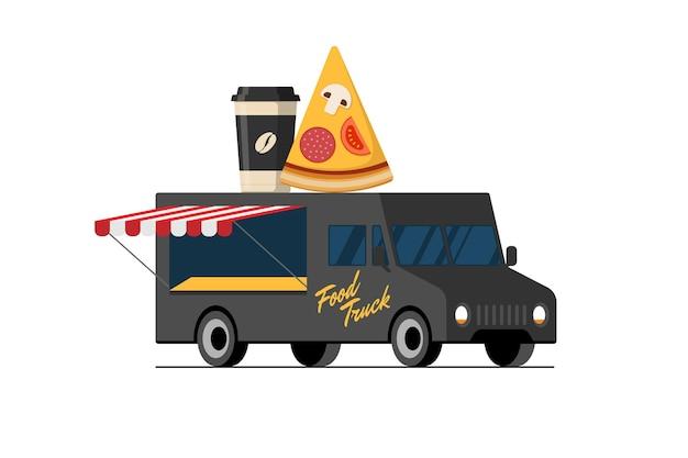 Fast food schwarze pizzeria, die lkw-pizzascheibe und kaffee-pappbecher auf dem dach des lieferwagens kocht?