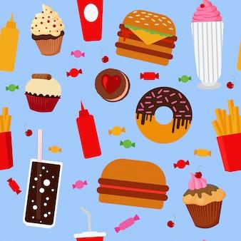 Fast food seamless pattern mit süßigkeiten