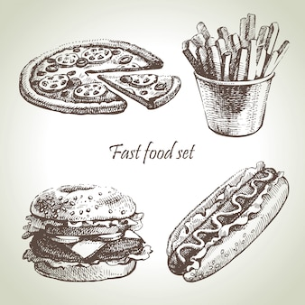 Fast-food-set. handgezeichnete illustrationen