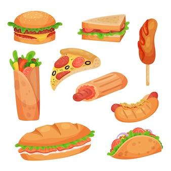 Fast-food-set illustrationen auf weißem hintergrund
