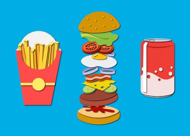 Fast-food-set im papierschnittstil