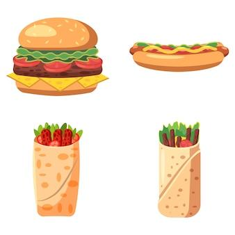 Fast-food-set isoliert. karikatursatz schnellimbiß