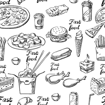 Fast-food-skizze nahtlos