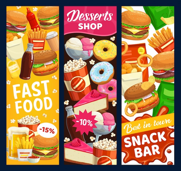 Fast-food-snackbar und dessert-banner. straßenmahlzeiten burger, donuts und popcorn, bier, pommes frites und limonaden. hühnernuggets, cheeseburger und fastfood-menü zum mitnehmen