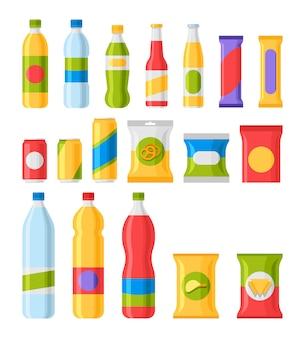 Fast-food-snacks und getränke flache symbole.