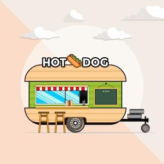 Fast food trailer hot dog symbol illustration.