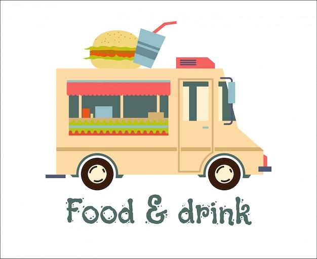 Fast food trailer mit burger
