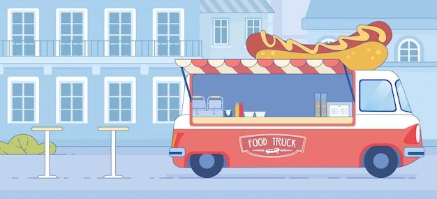 Fast-food-truck auf der city street geparkt