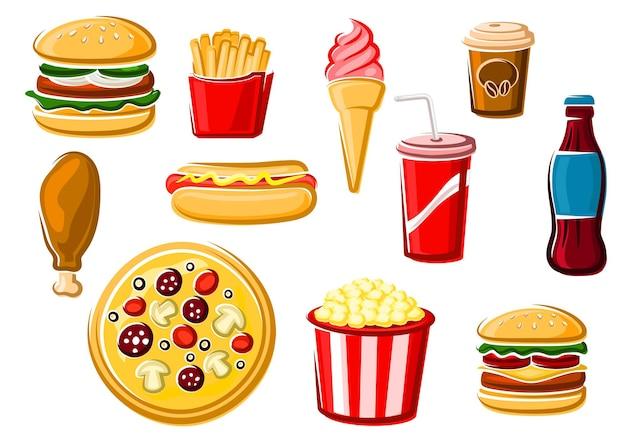 Fast-food- und getränke-clipart-set
