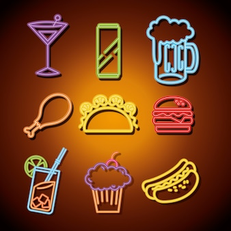 Fast-food und getränke mit neonlichtern symbole