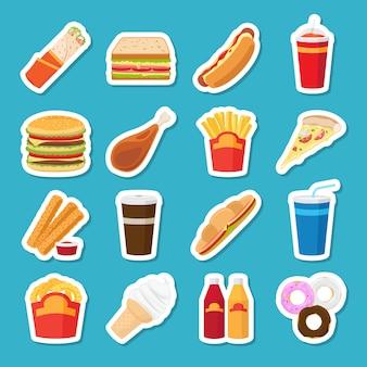 Fast-food- und getränkeaufkleber