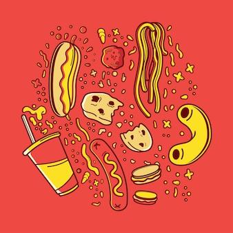 Fast-food- und snack-illustration der karikatur
